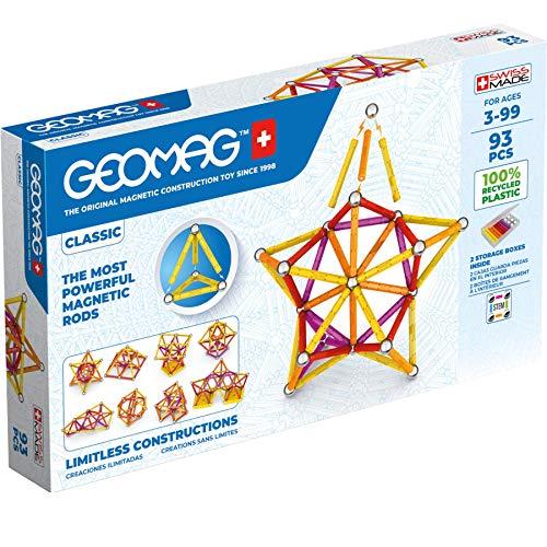 Geomag Color, Juego de Bloques de Construcción Magnéticos para Niños, Juguete Magnético, Colección Verde de Plástico 100% Reciclado, 93 piezas (273)