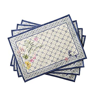 Maison d' Hermine Faience 100% Cotton Set of 4 Placemats 13 Inch by 19 Inch