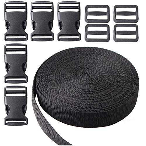 kuou 10 Metres Nylon Heavy Webbing Strap, Flat Side Release Buckles for DIY Craft Backpack Strapping(1 Inch Wide)