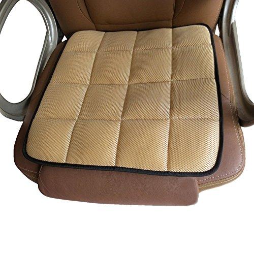 EQLEF® Coussin de chaise de bureau en charbon de bambou naturel Coussin de siège auto Coussin anti-skid – Noir beige