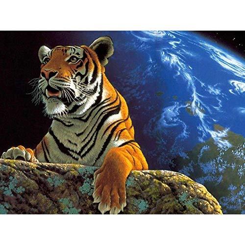 Peinture par Numero Adulte Tigre de terre DIY Peinture par Numéro Kit à l'huile pour Adultes Enfants Débutant Peindre par Nombre avec Brosses et Peintures Acryliques 40 x 50 cm (sans Cadre)