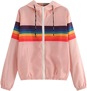 Sunhusing Women's Pure White Round Collar Short Pullover Rainbow Stripe Print Hooded Jacket