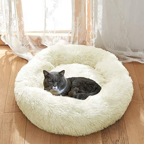 Joyreap Rundes Plüsch-Hundebett, Kunstfell-Donut-Haustierbett, flauschiges Katzenbett, Kuschelkissen für alle Jahreszeiten, waschbar, rutschfeste wasserdichte Unterseite, weiß, 40 cm