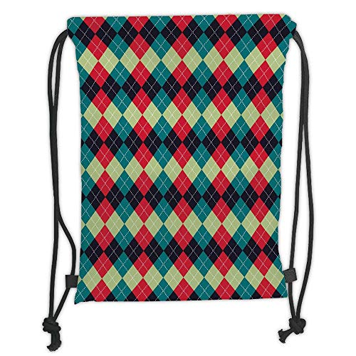 Fevthmii Drawstring Backpacks Bags,Navy and Teal,Classical Argyle Diamond Line Pattern Vintage Traditional Colorful Retro Decorative,Multicolor Soft Satin,5 Liter Capacity,Adjustable String