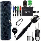 Golf-EZ Golf Essentials 21 Piece Kit | Golf Towel | Cleaning Brush | TRI-LINE Golf Ball Alignment Kit | Divot Repair Tool