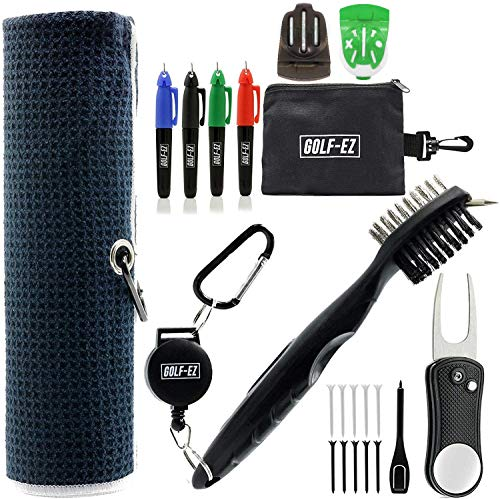 Golf-EZ Golf Essentials 21 Piece Kit | Golf Towel | Cleaning Brush | TRI-LINE Golf Ball Alignment Kit | Divot Repair Tool