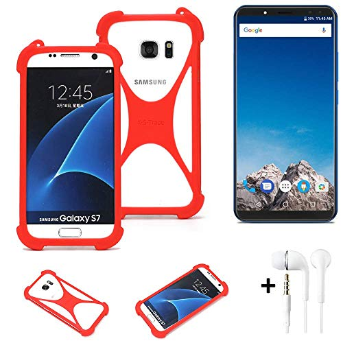 K-S-Trade® Handyhülle + Kopfhörer Für Vernee X Schutzhülle Bumper Silikon Schutz Hülle Cover Case Silikoncase Silikonbumper TPU Softcase Smartphone, Rot (1x),