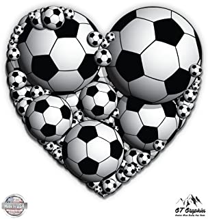 GT Graphics Soccer Balls Heart - Vinyl Sticker Waterproof Decal