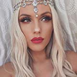 Aceorna Wedding Headbands Chain Floral Head Jewelry Hair Pieces Crystal Pearl Head Chains Headpiece Festival Holloween Costume Bridal Hair Accessories for Women and Girls (Silver)