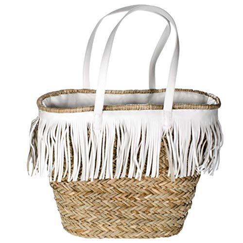 SIDCO Ibizatasche Strandtasche geflochten Frnsentasche Strandkorb Boho Beach Bag Ibiza