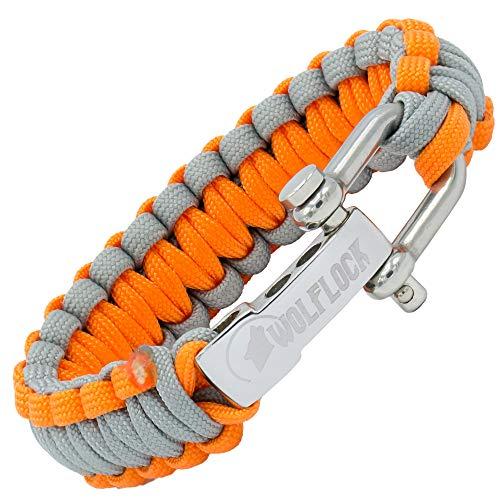 WOLFLOCK | Paracord Armband | Outdoor Survival Armband | Schwarz, Braun, Grün, Schwarz/Weiß | Schnellverschluss Edelstahl | Geschenk für Männer | SURVIVALIST (Grau/Orange)