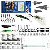 Saltwater Fishing Lures Kit Surf Fishing Tackle, 143pcs Fishing Accessories Box with Saltwater Tackle Included Fishing Lure Spoon Jigs Fishing Rig Pyramid Weights Wire Leaders Fishing Gear Set