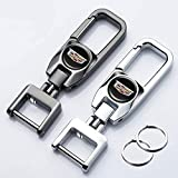 Hey Keyla 2PCS Llavero con Logo de Coche Llavero de Metal portátil de Acero Inoxidable Giratorio de 306 ° para Hombres y Mujeres, un Clic para Abrir, C-adillac