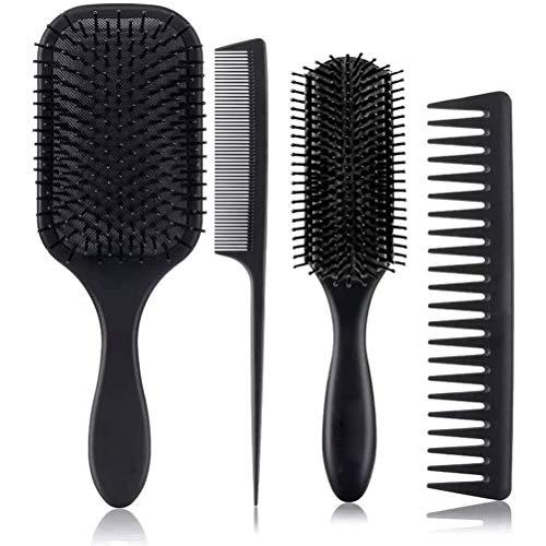 Ensemble de Peigne à Cheveux pour Femmes, 4Pcs Brosse à Cheveux à Palette Ensemble de Brosse à Démêler Brosse de Massage Portable pour Soins Des Cheveux Brosse à Poils de Sanglier