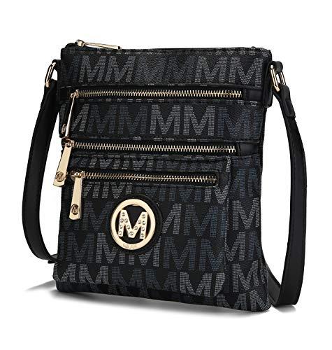 Mia K. Collection Crossbody bag for women - Removable Adjustable Strap - Vegan leather Crossover Designer messenger Purse Black