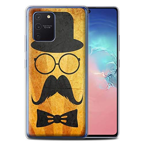 Stuff4 Telefoonhoesje voor Samsung Galaxy S10 Lite 2020 Retro Moustache Stuur/Bril Ontwerp Transparant Helder Ultra Zachte Flexi Siliconen Gel/TPU Bumper Cover