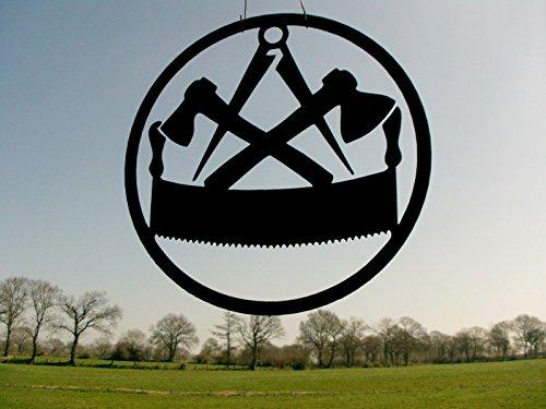 Metall-Design-Dithmarschen Innungsschild Zunftzeichen Zimmermann in RUND H= 40cm-90cm aus Stahl Handwerk Schild Bretter Dachpfannen (90cm)