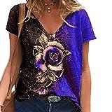 Elesoon Camiseta de verano para mujer, talla grande, 3D, impresión gráfica de rosa, manga corta, suelta, cuello en V, A-azul, 48