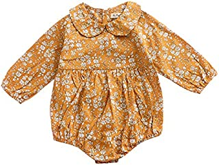 Wang Xiang Infant Girls Ruffles Jumpsuit One-Piece Romper Floral Printed Outfit Clothes