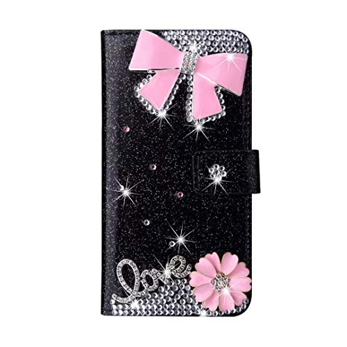 Hülle für Huawei P30 Pro, Glitzer PU Leder Handgemachte Bling Sparkly Diamanten Schnalle Gems Rosa Schleife Wallet Handyhülle Schutzhülle mit Ständer Kartenfächer Magnet für Huawei P30 Pro Schwarz