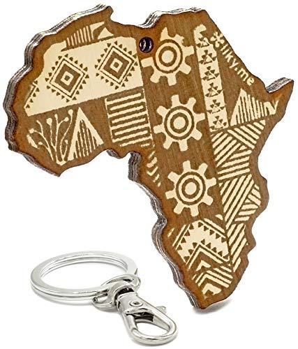 LIKY® Afrika Kontinent - Original Schlüsselanhänger aus Holz mit Gravur Geschenk Souvenir Damen Herren Geburtstag Hobby Schmuck Anhänger Tasche Rucksack
