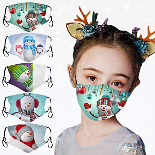 Kinderweihnachtsgesicht M @ sk Niedlicher Schneemann-Druck Waschbarer und wiederverwendbarer staubdichter und Sicherer und komfortabler hautfreundlicher Gesichtsschutz für 5 PC