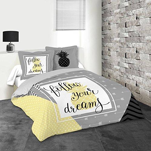 Lovely Casa Dreams Housse DE Couette 260X240 CM + 2 TAIES 63X63 CM, Coton, Gris