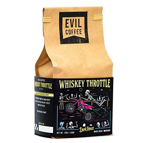 Evil Coffee Whole Bean Specialty Coffee 12oz Bag (Whiskey Throttle Dark Roast)
