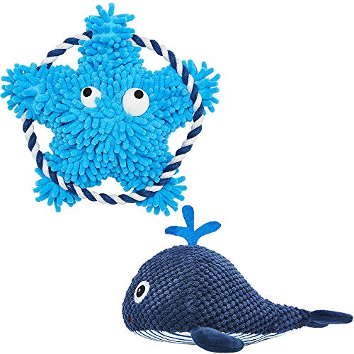 Blueberry Pet Durable Interactive Squeaky Plush Tugging Dog Chew Toys Rope Toy for Puppies & Small Dogs, Pack of 2 Blue Whale and Sea-Star Toy