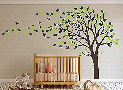 youjiu Großer Baum weht im Wind Baum Wandtattoos Wandaufkleber Vinyl ArtBoys Wallpaper Murals Aufkleber Wandaufkleber Kinderzimmer Dekor Kinderzimmer Aufkleber