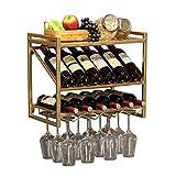 Soporte para botellero Soporte para Vino montado en la Pared Soporte para Botella y Copa de Vino Almacenamiento de Cocina para el hogar Soporte para Almacenamiento Puede almacenar 12 Botella