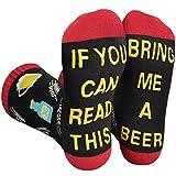 """heekpek """"If You Can Read This Bring Me A Beer"""" Calcetines Divertidos Calcetines de Vino Cerveza Novedad Calcetines Hombres Mujeres Calcetines de Algodón Regalo de Año Nuevo Navidad Cumpleaños (A)"""