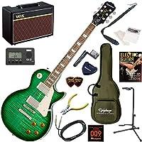 EPIPHONE エレキギター 初心者 入門 定番のレスポールスタンダード 人気のVOX Pathfinder10が入った本格14点セット Les Paul Standard Plustop PRO/GB(グリーンバースト)