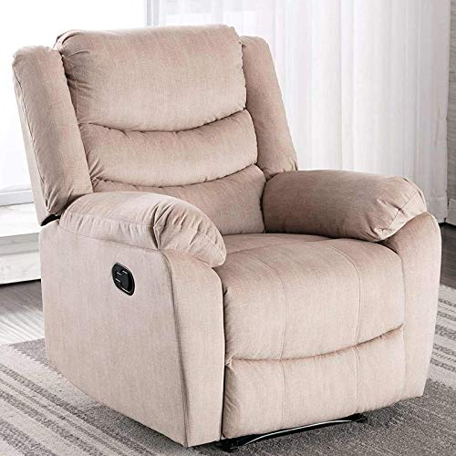 ANJ Recliner Chair with Overstuffed Arm and Back, Breathable Faux Leather Manual Reclining Chairs for Adults, Living Room Single Sofa (Brown)