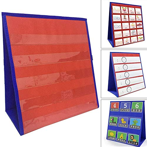 NELAHSHA Stojak na biurko z kieszonką na wykresy dwustronne i samodzielnie stojący blat kieszonkowy mała kieszonkowa wykres do przedszkola, użytku domowego lub sali lekcyjnej (30 x 33 cm)