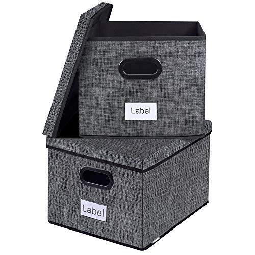 homyfort File Storage Box Organizer,Collapsible Decorative Office Filing Box for Easy File Folder Holder Storage,Organize Your Documents Black with Grid Printing Set of 2