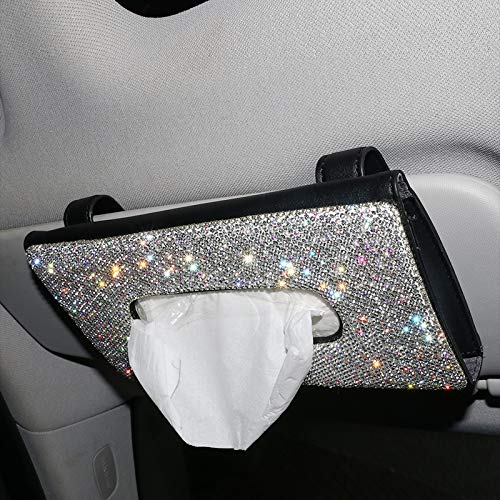 NEWL Bling Bling Bling Auto Sonnenblende Taschentuchbox PU Leder Taschentuchetui Halter Handgemacht funkelnde Kristall Auto Serviettenhalter für Frauen