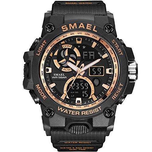 Fomtty Orologio da Uomo Analogico e Digitale, Orologio Sportivo, Impermeabile Orologio LED con Cronometro LED Digitale Orologio Luxury Casual Wristwatch (Gold)