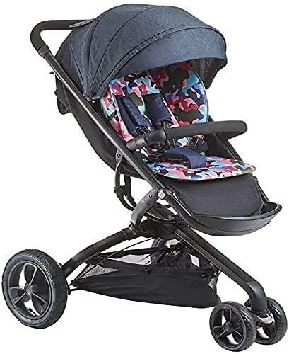 Duwen Cochecito portátil plegable, cochecitos cochecitos para bebés 1-3 años de edad carro de bebé 2-6 años de edad 3 Vehículo con ruedas Sombrilla plegable Barra de empuje de 360 ° Rotación de coch