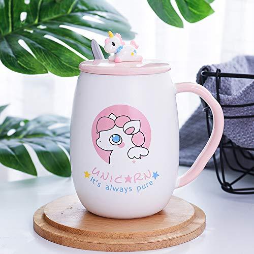 Linda taza de cerámica del unicornio, lleva tapa y cucharilla, se puede usar como Mark cup, vaso de agua, vaso de leche, taza de café, regalo ideal para chicas. Se puede usar en casa o en la oficina.