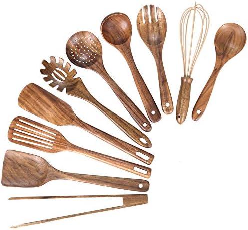 Kitchen Wooden Utensils for Cooking Nonstick Wood Utensil Natural Teak Wood Spoons for Cooking product image