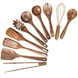 Kitchen Wooden Utensils for Cooking, Nonstick Wood Utensil Natural Teak Wood Spoons for Cooking,Kitchen Utenails Set,Wooden Kitchen Utensil Set With Spatula and Ladle (10)