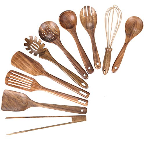 Kitchen Wooden Utensils for CookingNonstick Wood Utensil Natural Teak Wood Spoons for CookingKitchen Utenails SetWooden Kitchen Utensil Set With Spatula and Ladle 10