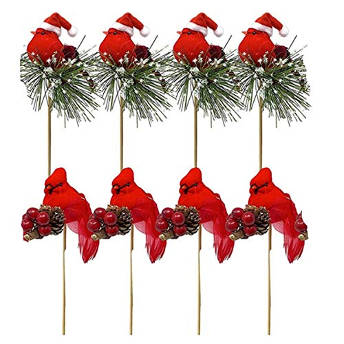 Gaoominy 8PCS Birds Attached to Wooden Stems/Red Cardinals Birds Decor Christmas DIY Ornament