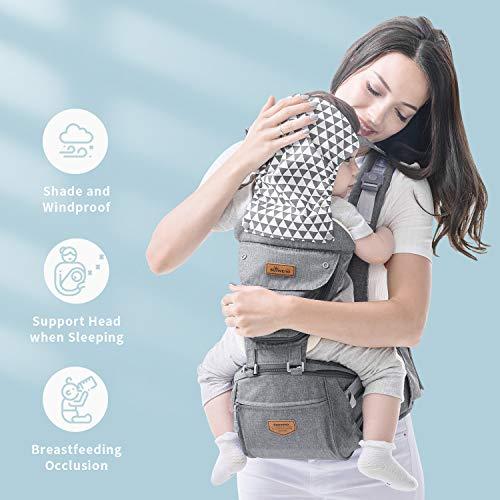 SUNVENO Babytrage Ergonomisch,Baby Carrier mit Abnehmbarer Kapuze, Hüftsitz baby mit Speicheltuch, 3in1 Babybauchtragen für Baby 0-36 Monate, Babyrückentragen 0-20Kg, Grau