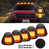 HOCOLO Black Smoked Cab Marker Lens LED Amber Roof Running Lights Clearance Top Marker Lamps Lighting Assembly For Super Duty Pickup Truck