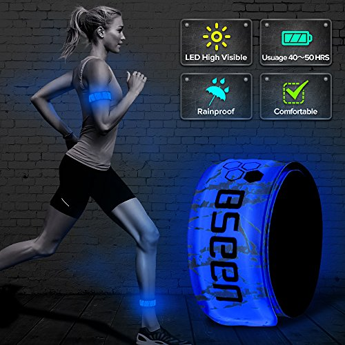 BSEEN LED Armband, 2ed Generation LED Slap Bracelets, Patented Heat Sealed Glow in The Dark Water/Sweat Resistant Glowing Sports Wristbands for Running, Cycling, Hiking, Jogging (Blue-Design II)