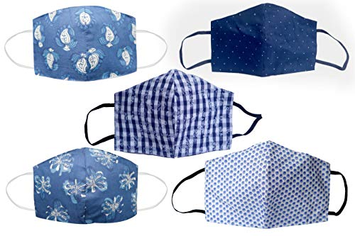 2 Layer Face Mask, Reusable, Cotton Cloth Washable, Face Covering, Breathable Face Mask, Pack of 5