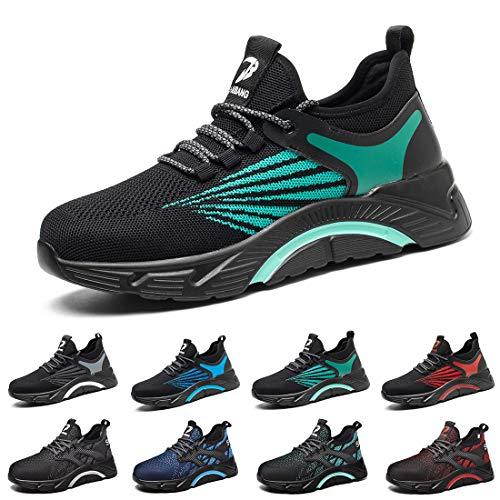 Zapatos de Seguridad para Hombres Mujeres Zapatillas con Punta de Acero Botas Ligeras construcción de Malla Zapatillas industriales Reino Unido 661 Verde Negro 48 EU Green Black