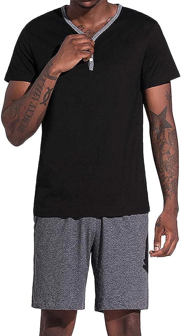 Mens Pajamas Shorts Set Cotton Short Sleeve Lounge Wear Top PJ Set Summer Sleepwear